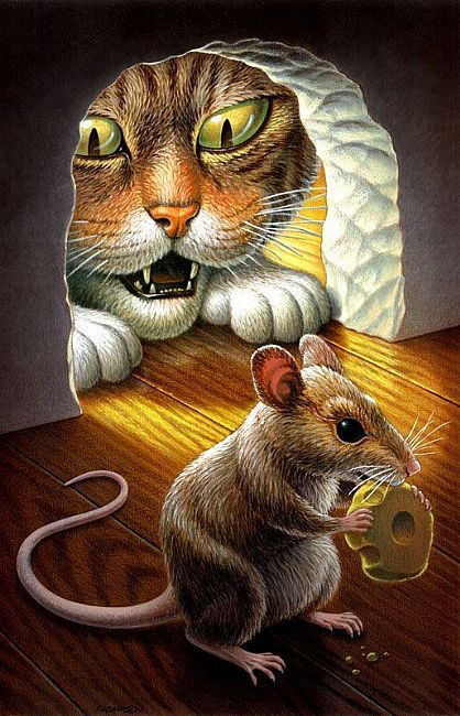 Cat Loves Mouse Illustration