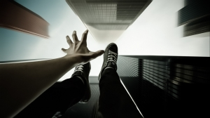 falling sneakers