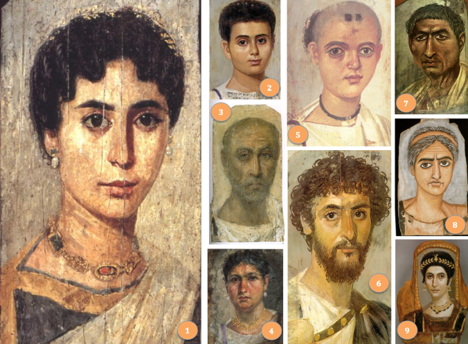 Some Fayum portraits, dating collectively to the period AD70-250. The numbers refer to discussions in the text.