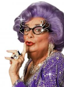 dame edna in purple
