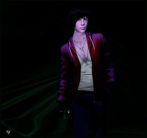 A make avatar in a red hoodie against a dark background