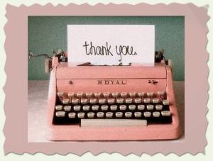 thank you pink typewriter