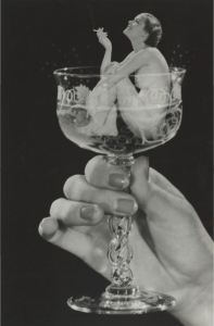 woman in champagne glass