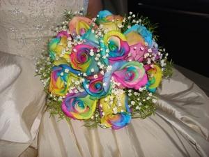 Rainbow Rose bridal bouquet